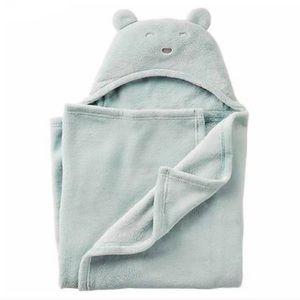 Carter's baby bear hooded blanket Sherpa blue